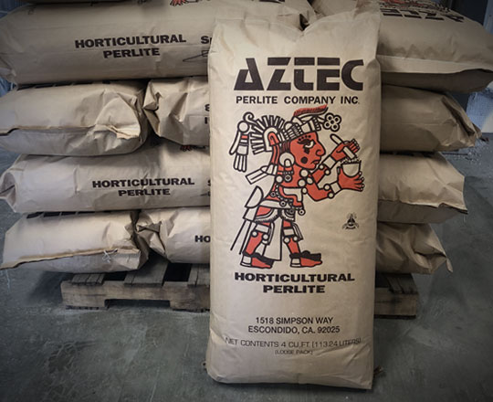 Palette of Aztec Perlite Premium Horticultural Perlite ready to ship in logo paper bags
